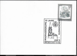 """AUSTRIA - SCOUTISMO -  ANNULLO SPECIALE """" PFADFINDERGRUPPE 50 JAHRE KLEINMUNCHEN - LINZ 5 31.5.1986"""" - 1981-90 Cartas"""