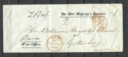 """GREAT BRITAIN 1846 Cover FRONT (only) """"PAID"""" War-Office To Gottenburg Sweden - Briefe U. Dokumente"""