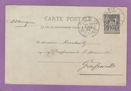 ENTIER POSTAL DE PARIS POUR UN PROFFESSEUR A L'UNIVERSITE DE GREIFSWALD.1894. - Cartes Postales Types Et TSC (avant 1995)