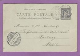 ENTIER POSTAL DE PARIS POUR UN PROFFESSEUR A L'UNIVERSITE DE MARBURG.1899. - Cartes Postales Types Et TSC (avant 1995)