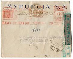 Espagne : EMA 'Banco Hispano Colonial Barcelona' Sur Lettre Avec Censure De 1938 Pour La France - 1931-50 Briefe U. Dokumente