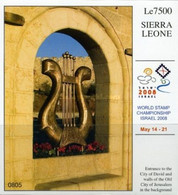 Sierra Leone, 2008, Mi Block 633, International Stamp Exhibition ISRAEL 2008, Jerusalem, Harp, MNH - Música