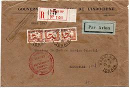 Indochine : Lettre Recommandée De 1938 - Timbres Surchargés Kouang-Tchéou - CaD D'Hanoï - Briefe U. Dokumente