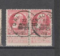 COB 74 En Paire Centraal Gestempeld Oblitération Centrale GAND (SUD) - 1905 Breiter Bart