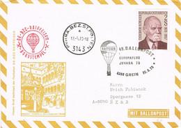 39593. Carta Aereo Globus, Ballonpost GREIN (Austria) 1973. EUROPA Flug - Poste Aérienne