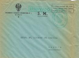 39598. Carta S.M. MADRID 1948. Franquicia MANDO Cazadores De Montaña Num 1. Militar. RESERVADO - 1931-50 Briefe U. Dokumente
