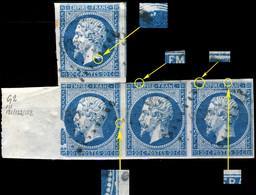 FRANCE - Yv.14 20c Bleu T.I Bande De 3 +1 Positions 111G2/121G2/122G2/123G2 Avec Grand Bord De Feuille - B/TB - 1853-1860 Napoleon III