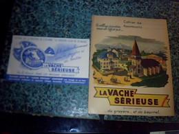 Vieux Papiers Protège Cahier , Folklore Village Jurassien & Buvard Fromage La Vache Sérieuse  Fromagerie Grosjeanville - L