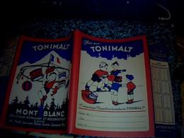 Vieux Papier Protège Cahier Imprimé Recto/ Verso Mont Blanc Tonimalt Thème Humour Fête De Village Jeux D'enfants Boxe - T