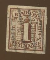 1859. Hamburg. Dun Thin Aminci Léger. Michel 2 Ø. .     KW Min 70,-€. Mini Tear. Petite Fente - Hambourg
