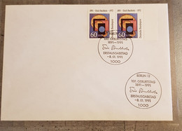 GERMANY BERLIN FDC 1991 THE 100TH ANNIVERSARY OF THE BIRTH OF ERICH BUCHHOLZ - FDC: Enveloppes
