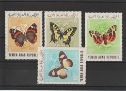 Yemen 1966 Papillons 56-59 4 Val ** MNH - Yemen