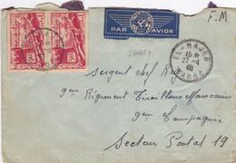 23062# LETTRE FRANCHISE MILITAIRE PAR AVION Obl EL HAJEB MAROC 1940 Pour SECTEUR POSTAL 19 TIRAILLEURS MAROCAINS - Briefe U. Dokumente