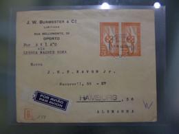 TIPO HÉLICE - CORREIO AÉREO (POR VIA LISBOA MADRID ROMA) DESTINO HAMBURG - ALEMANHA - CENSURAS - Briefe U. Dokumente