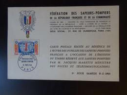 Pompiers, Fédération Des Sapeurs Pompiers Et Protection Civile Carte Paris 8 Février 1964 - 1960-69