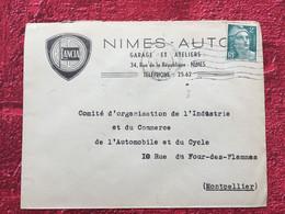 1945-GARAGE AUTOMOBILE LANCIA ENTÊTE ⭐NÎMES Gard Marcophilie Timbre Seul Sur Lettre-☛Marianne De Gandon-Pr Montpellier - 1921-1960: Modern Tijdperk
