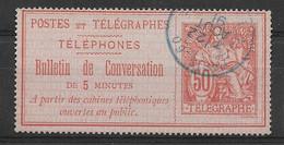 Yvert 9 Met Blauwe Stempel Paris - Télégraphes Et Téléphones