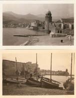 Lot De 2 Photographies Des Pyrénées (Orientales), Barques + Clocher Et Montagnes, Collioure (66), Clichés Ca 1935 - Places