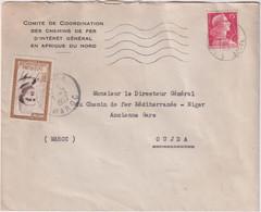 MAROC L.S PARIS POUR OUJDA + Taxe En TP Marocain-comité De Coordination Chemins De Fer - Morocco (1956-...)