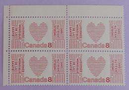 """CANADA BLOC DE  4 X YT 479 NEUFS**AVEC BDF """"JOURNEE MONDIALE DE LA SANTE"""" ANNÉE 1972 - Neufs"""
