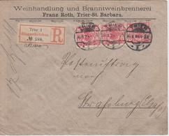 DR - 10 Pfg. K/A Dreierstreifen Einschreibebrief Trier - Straßburg/Els. 1894 - Cartas