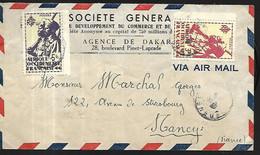 AOF Lettre Par Avion  De L' Agence   De Dakar Pour Nancy 54 - Lettres & Documents