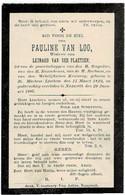 ST. MARTENS-LATEM / NAZARETH - Pauline VAN LOO - Wwe L. VAN DER PLAETSEN - °1822 En +1907 - Devotieprenten