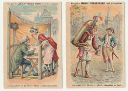 2 CHROMOS Chocolat POULAIN ORANGE  LES GAGNE-PETIT DU XVIIIe SIECLE L'Ecrivain Public  Marchand De Coco - Poulain