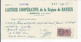 CHEQUE  ENVOYEE A LA MERE SUPERIEURE DE L'HOTEL DIEU DE BAYEUX Laiterie Cooperative De La Region De Bayeux 1936 - 1900 – 1949