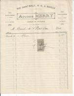FACTURE   ENVOYEE A LA MERE SUPERIEURE DE L'HOTEL DIEU DE BAYEUX 1904 Merry Rue St Malo Bayeux - 1900 – 1949