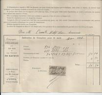 FACTURE   ENVOYEE A LA MERE SUPERIEURE DE L'HOTEL DIEU DE BAYEUX Compagnie D'eclairage Bayeux 1904 - 1900 – 1949