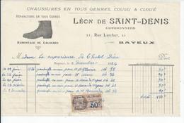 FACTURE   ENVOYEE A LA MERE SUPERIEURE DE L'HOTEL DIEU DE BAYEUX Saint Denis Cordonnier Rue Larcher Bayeux 1926 - 1900 – 1949