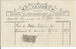 FACTURE   ENVOYEE A LA MERE SUPERIEURE DE L'HOTEL DIEU DE BAYEUX Vaussy  Pharmacien Rue St Jean Bayeux 1901 - 1900 – 1949