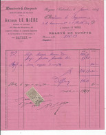 FACTURE   ENVOYEE A LA MERE SUPERIEURE DE L'HOTEL DIEU DE BAYEUX Le Miere  Menuiserie Rue Boucher Bayeux 1904 - 1900 – 1949