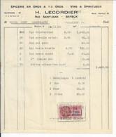 FACTURE   ENVOYEE A LA MERE SUPERIEURE DE L'HOTEL DIEU DE BAYEUX  Epicerie  Lecordier Rue St Jean Bayeux 1936 - 1900 – 1949