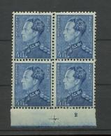 833 Bloc De 4 **. Planche 2 - 1936-51 Poortman