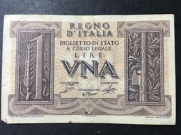 LIRE UNA........REGNO D' ITALIA.......Biglietto Di Stato..... - Otros