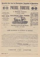 F. Charazac , Pharmacien à Xertigny , Vosges ,la Poudre Indienne , Maladie Des Porcs , Pub Illustrée , 1895 ,2 Scans - 1800 – 1899