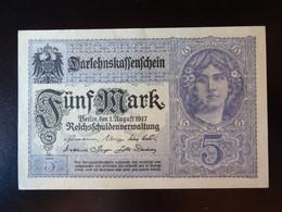 Billet Allemagne 5 Mark Du 01 08 1917 - 5 Mark