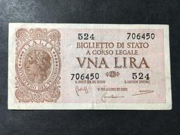 LIRE UNA........ITALIA.......Biglietto Di Stato..... - Otros