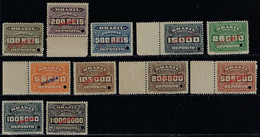 Brazil 1913 2 Specimen Stamps RHM-D-1 And 6 100 And 5,000 Réis Mint - Unused Stamps