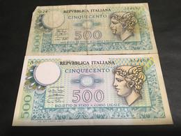LIRE 500.......REPUBBLICA ITALIANA.......Biglietto Di Stato..... - 500 Lire