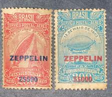 O) 1931 BRAZIL, ZEPPELIN 2$500 SANTOS DUMONT'S AIRSHIP SCT C26 2500r On 200r,  ZEPPELIN 5$000 AUGUSTO SEBVERO'S AIRSHIP - Unused Stamps