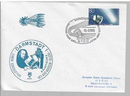 FDC Ariane (51) Mission Giotto Cachet Darmstadt - Europe
