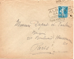 """Lettre Avec Oblitération Daguin """"Albi Sa Cathédrale Son Musée"""" Sur Timbre Type Semeuse 30c Bleu (YT 192 - 1921-1960: Moderne"""