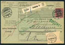 1908 Germany Paketkarte Parcelcard Leipzig - Solothurn Switzerland. Julius Klinkhardt - Cartas