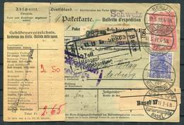 1919 Germany Expres Paketkarte Parcelcard Berlin - Switzerland - Cartas