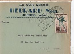 """Devant Lettre Oblitération Daguin """"Visitez Cordes /ciel Cité Médiévale """" Sur Timbre Figaro  (YT 957) - 1921-1960: Moderne"""