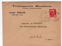 """Lettre Oblitération Daguin """"Graulhet Centre Mondial De La Peau à Doublure"""" Sur Timbre Marianne Gandon (YT 813) - 1921-1960: Moderne"""