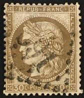 YT 56 LGC 691 Caen Calvados (13) (°) 1871-75 30c Brun Cérès Grands Chiffres (6 + 2 Euros) – 6bleu - 1871-1875 Cérès